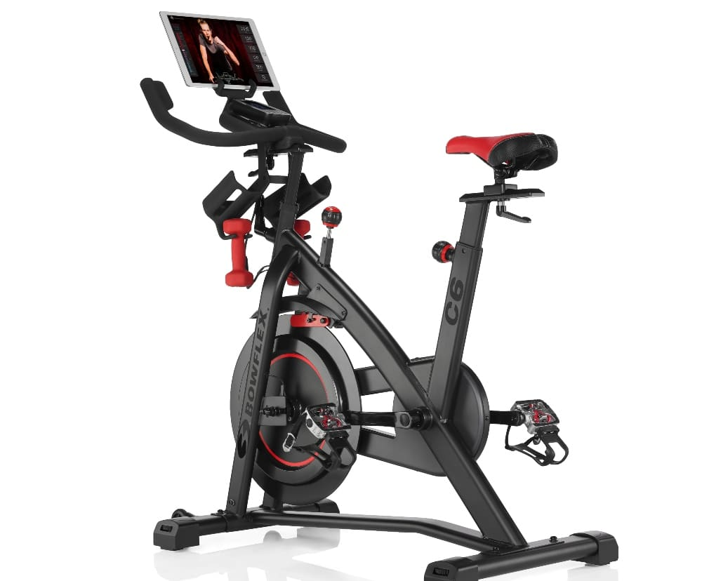 bowflex bike with a tablet mounted