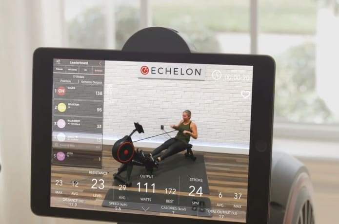 rowing workouts on the Echelon App